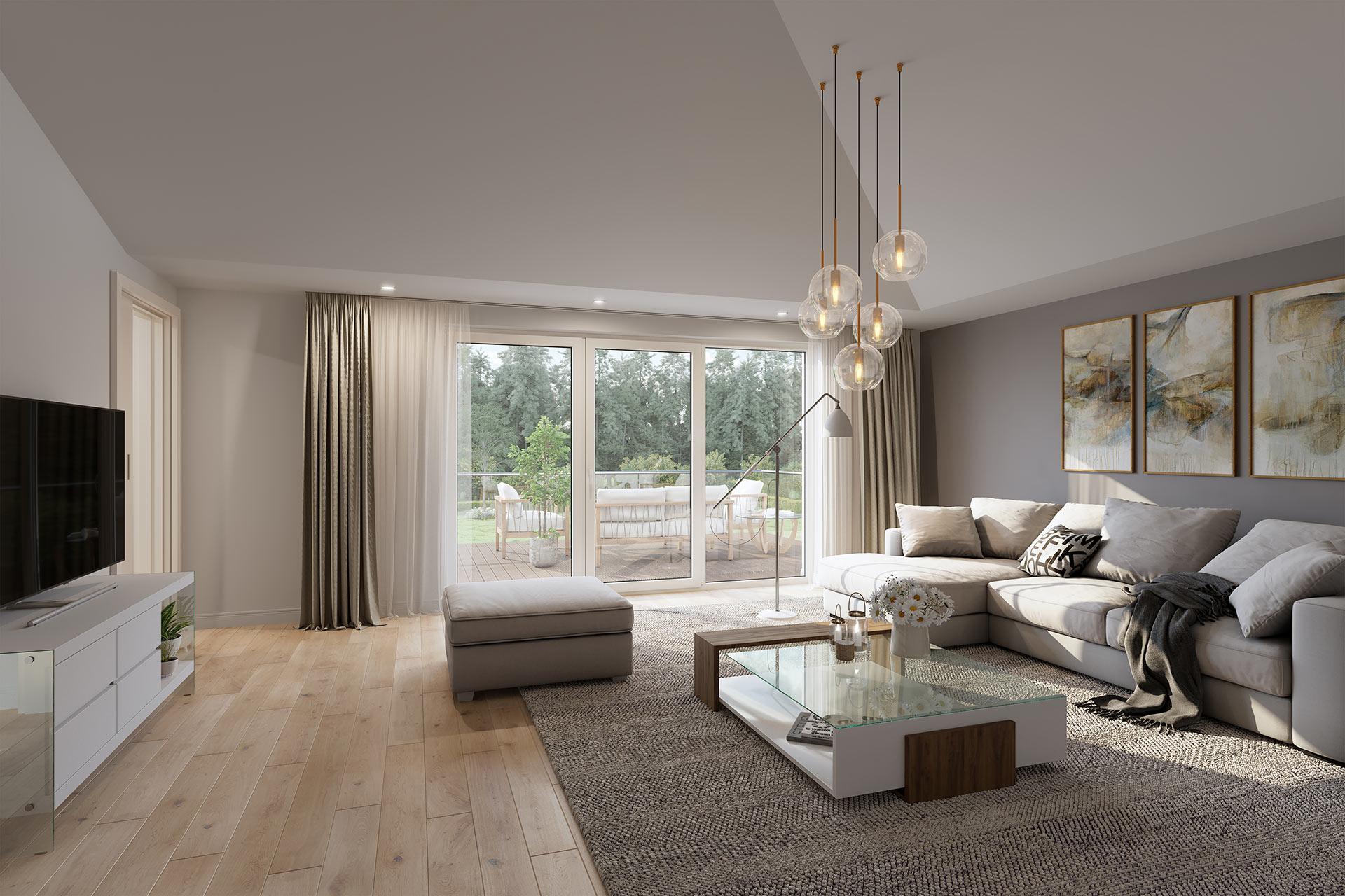 Modernes Visualisierung Wohnzimmer